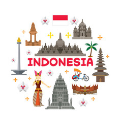 indonesia travel attraction label vector image vector image