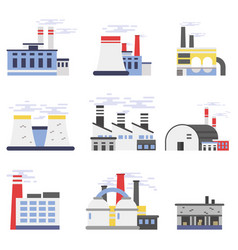 industrial factory buildings set power and vector image vector image