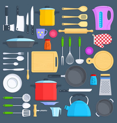 Kitchen tools cookware and kitchenware flat icons vector