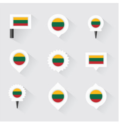 Lithuania flag and pins for infographic and map vector