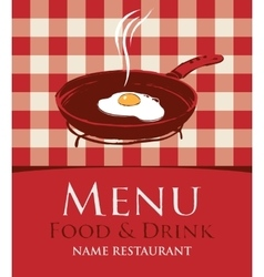 menu with a frying pan and fried eggs vector image vector image