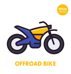 offroad bike motorcycle icon in flat style vector image vector image