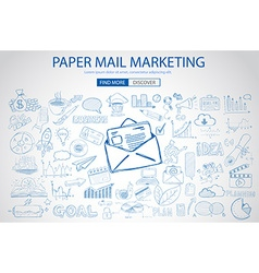 Paper email marketing with doodle design style vector
