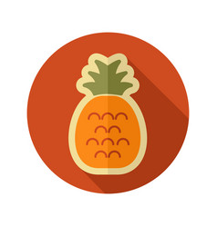 Pineapple flat icon tropical fruit vector