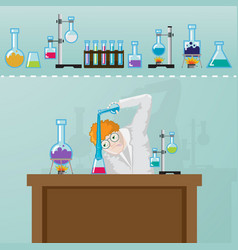 Professor doing chemistry experement in laborotory vector