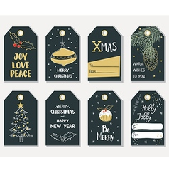Set of hand draw christmas gift tags vector