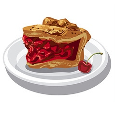 Slice of cherry pie vector