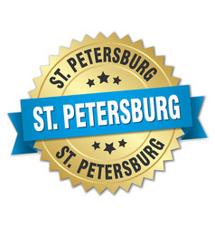 St petersburg round golden badge with blue ribbon vector