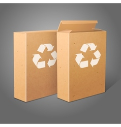 Two realistic blank craft paper packages for vector