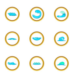 Water wave icons set cartoon style vector