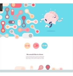 Web design template with running brain vector