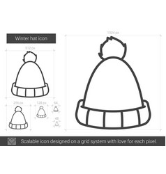 winter hat line icon vector image vector image
