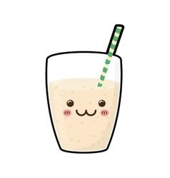 Juice drink glass straw kawaii icon vector