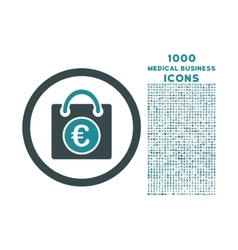 Euro shopping bag rounded icon with 1000 bonus vector