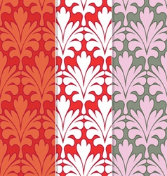 Set of 3 seamless red damask patterns vector