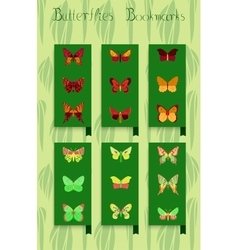 Set of bookmarks colorful butterfly decor vector