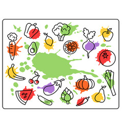 healthy food vegetables and fruits bright blots vector image