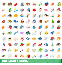 100 family icons set isometric 3d style vector