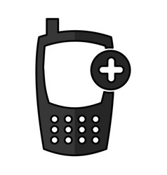 Cellphone with pluss device isolated icon vector