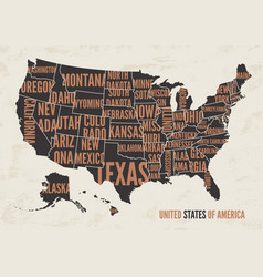 United states of america map print poster vintag vector
