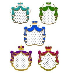Colorful ceremonial royal mantles and crowns vector