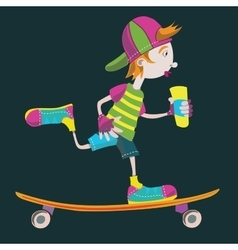 Skater teens isolated sketch on black vector