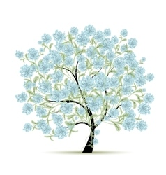 Spring tree with flowers for your design vector image