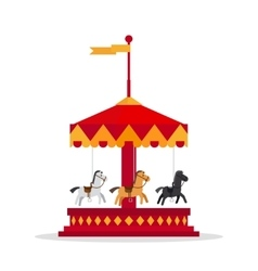 Kids carnival carousel in flat style vector