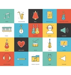 Line icons set of music collection concept modern vector