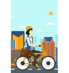 Woman cycling to work vector image