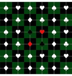 Card suits green black chess board background vector
