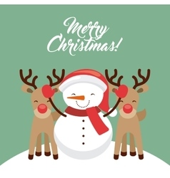 Snowman cartoon icon merry christmas design vector