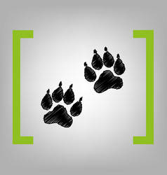 Animal tracks sign black scribble icon in vector