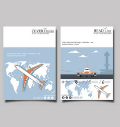 Aviation flyers set with airplane vector