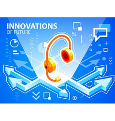 Bright arrows and head phone on blue backgro vector