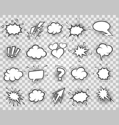 cartoon sketch speech bubbles set vector image