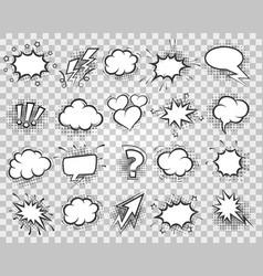 cartoon sketch speech bubbles set vector image vector image