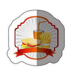 Color french fries sandwich and soda inside vector