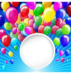 colorful balloons with banner on a blue background vector image