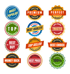 colorful round labels and stickers vector image