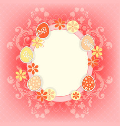 Design with easter eggs and flowers vector