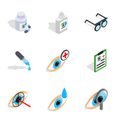 Eye care icons isometric 3d style vector