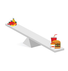 Fruit and fast food teeter vector