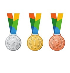 gold silver bronze sport medal vector image vector image