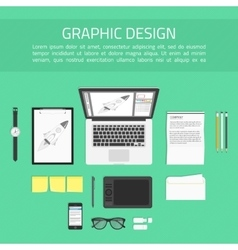 Graphic designer workplace top view vector image vector image