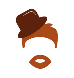 Hair hipster style with gentleman hat model vector
