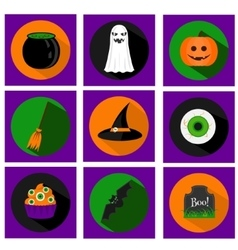 Halloween flat icons with holiday symbols vector