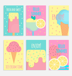 Ice cream posters banners and cards in flat style vector
