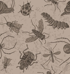 Insects Seamless on the old background vector image