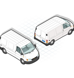 Isometric white van in two position vector